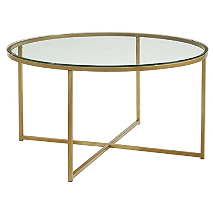 Amazon Com Pemberly Row Round Glass Top Coffee Table In Gold