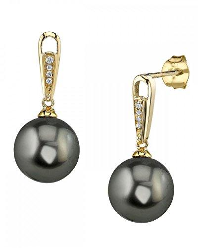 14K Gold Tahitian South Sea Cultured Pearl & Diamond Bailey Earrings