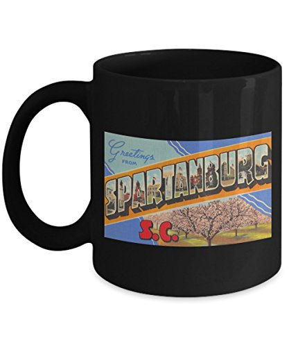 (Greetings from Spartanburg South Carolina, Vintage Large Letter Postcard Design: Ceramic Coffee Mug)