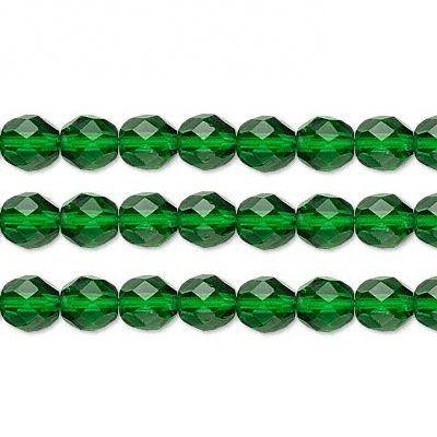 Czech Faceted Round Fire Polished Glass Beads. Preciosa Emerald 12mm 16 Inch Strand