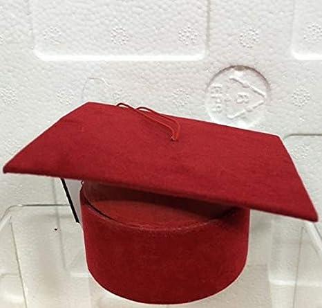 STOCK 24 PEZZI Scatolina Cappello Tocco Laurea Rosso Velluto portaconfetti  porta confetti 44d8aa27e374