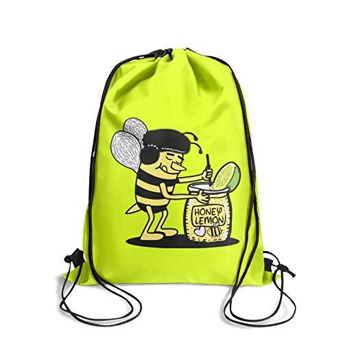 Drawstring Backpacks Bee mixing honey lemon character Storage Yoga Shopping Bags Pattern Sackpack