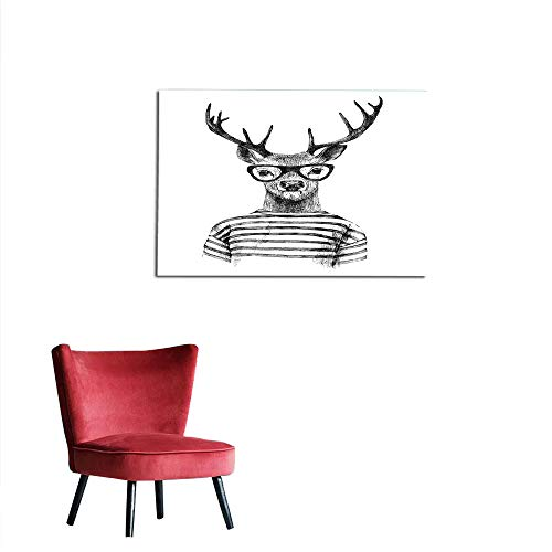 kungfu Decoration Wall Sticker Decals Deer,Dressed up Reindeer Headed Human Hipster Style with Glasses Stripped Shirt,Charcoal Grey White The Office Poster W27.5 x L19.7