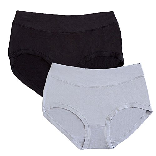 Warm Sun Women's Bamboo Viscose Fiber Multi Pack 2 Plus Size Panties US Size S-XXXL/5-10 (8/XL, Black,Gray)]()