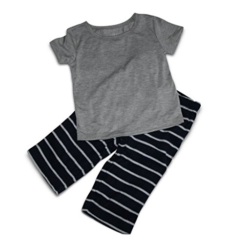 - GAP Baby Kids Short Sleeve Shirt Top and Micro Fleece Pants Sleep PJ Set (12-18 Months, Gray Top, Blue-White Stripe Pants)