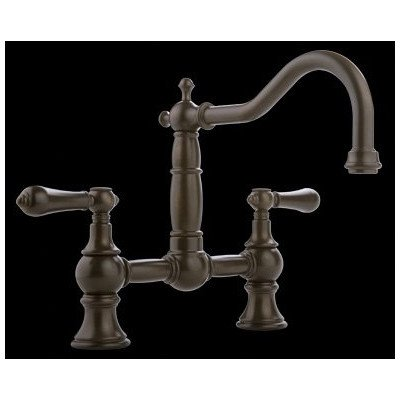 Canterbury Straight Double Handle Bridge Kitchen Faucet with Optional Level Handles Finish: Olive Bronze, Handle Type: Metal Lever Handles Straight Centerset