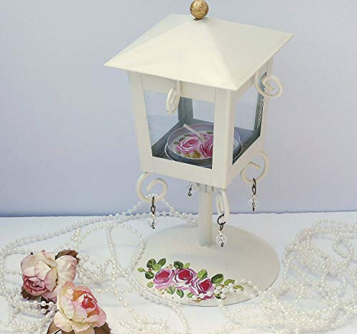 - Ivory Metal Pedestal Mini Lantern Tea Light Candle Holder Set Hand Painted Roses Romantic Shabby Chic Decor