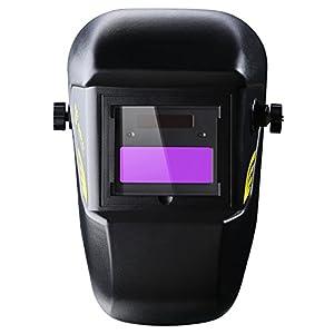 DEKOPRO Welding Helmet Solar Powered Auto Darkening Hood with Adjustable Shade Range 4/9-13 for Mig Tig Arc Welder Mask Black by XUGEL GROUP
