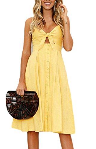 Jaycargogo Spaghetti Des Femmes De L'été V-cou Bohème Bracelet Midi Avec Robe Noeud Papillon 6