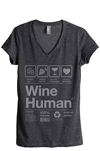 Thread Tank Wine Human Women's Fashion Relaxed V-Neck T-Shirt Tee Charcoal Grey Large