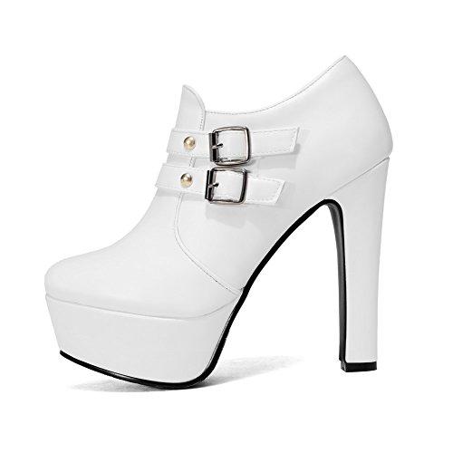VogueZone009 Damen Reißverschluss Hoher Absatz Rein Metall Nägel Low-Top Stiefel Weiß