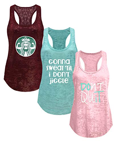 Tough Cookie's Women's Gym Athletic Workout Tank Top 3 Pack Deal #2 (Large - LF, Maroon/Mint/Blush ()