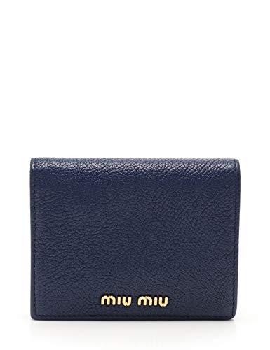 (ミュウミュウ) miu miu MADRAS マドラス 二つ折り財布 レザー ネイビー 5MV204 中古   B07RRPM2PN