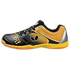 The groovy shoe is smartly designed for the intense footwork of top players. A thin midsole offers a sense of being 'barefoot', yet is surprisingly comfortable.