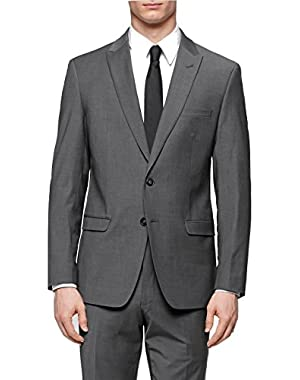 Calvin Klein Charcoal Textured Two Button Wool New Men's Sport Coat