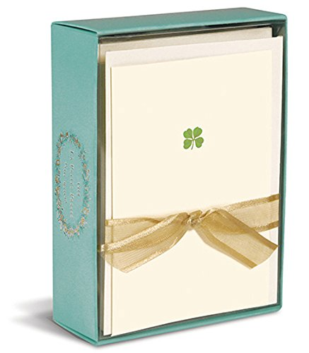 Graphique De France Elegant Embossed Shamrock Four Leaf Clover Blank Notecards - 10 Cards and Envelopes - 3 X 5 Inches