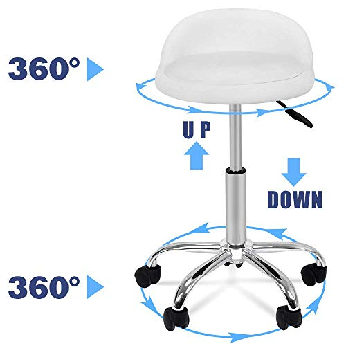 Nova Microdermabrasion Adjustable Hydraulic Rolling Swivel Salon Stool Chair Tattoo Massage Facial Spa Stool Chair with Back Rest (PU Leather Cushion) (White 1pcs)
