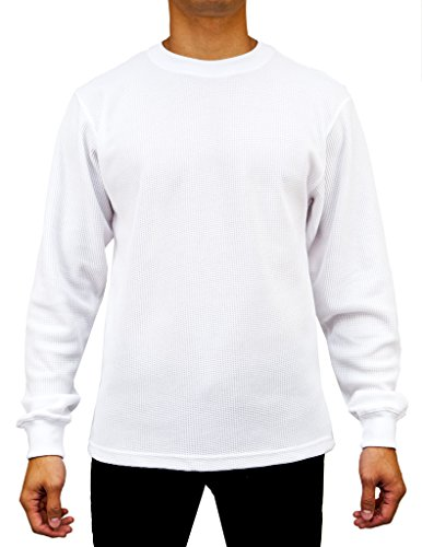 Shirt Knit Underwear Top Long - Access Men's Heavyweight Long Sleeve Thermal Crew Neck Top White Large