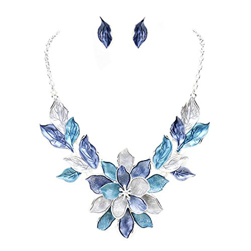 Rosemarie Collections Women's Flower Leaf Statement Necklace Set (Spring Floral Necklace)
