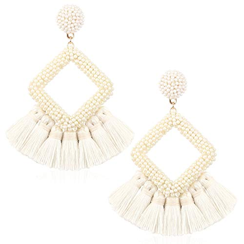 Tassel Bead Statement Earrings for Women Girl Handmade Bohemian Beaded Hoop square Thread Fringe Dangle Trendy Vintage Studs Ear Jewelry Accessory Present for Friend with Gushion Gift Box GUE137 Cream