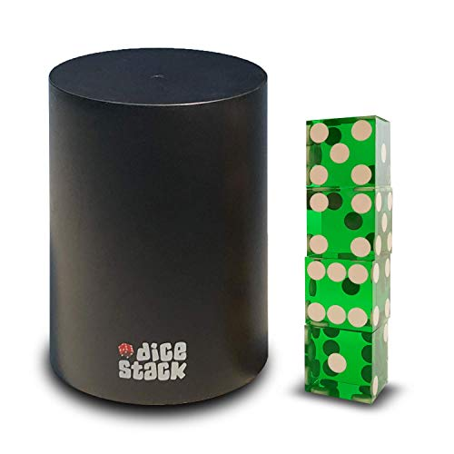 - Dice Stacking Cup - Professional Straight Cups Black w/5 19mm Razor Edges Dice - Accessories - Magic Tricks (9cm Green)