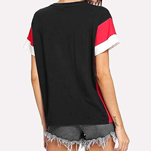 Casual Blocchi Maniche Cutude Camicetta Di A T shirt Da Corte Nero Donna Colore x6H0w4q