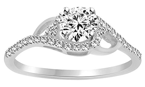 White Natural Diamond Swirl Engagement Ring in 14k Solid White Gold (0.5 Cttw)