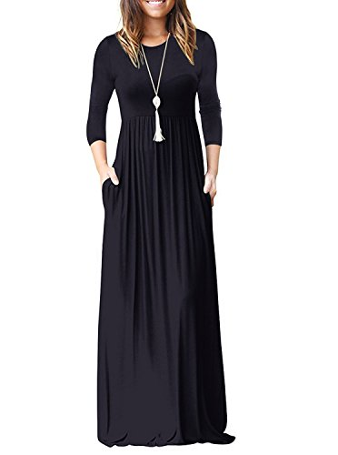 (ReoRia Women's 3/4 Sleeve Loose Plain Maxi Dresses Casual Floor Length Long Dresses with Pockets Navy Blue X-Large)
