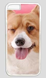 Happily Dog Sitting on Sofa DIY Hard Shell Transparent Designed For iphone 6 Plus Case