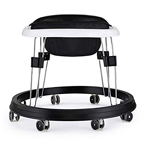 (US Shipping)7 Heights Adjustable Baby Walkers for Boys&Girls with Large BPA Tray & 8 Universal Wheels, Anti-Rollover Folding Toddler Walker for Baby Boy&Girl 6-18Months (Black PU Cushion)