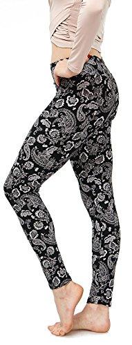 LMB Lush Moda Extra Soft Leggings with Designs- Variety of Prints - 776YF Black White Paisley B5