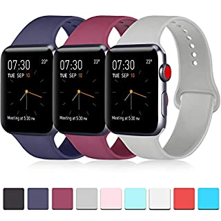 ATUP Pack 3 Compatible with iWatch Band 40mm Series 4, Soft Silicone Band Compatible iWatch Series 4, Series 3, Series 2, Series 1 (Navy Blue/Wine Red/Gray, 38mm/40mm-S/M)