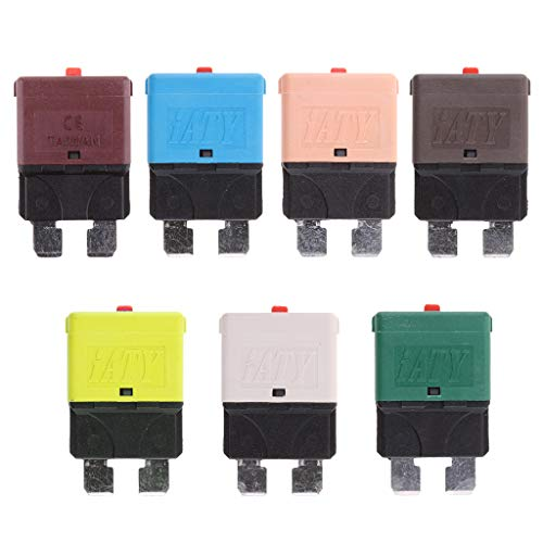Dovewill 7 Pieces 28V 5A 7.5A 10A 15A 20A 25A 30A Mini Blade Fuse Manual Circuit Breakers for Car ()