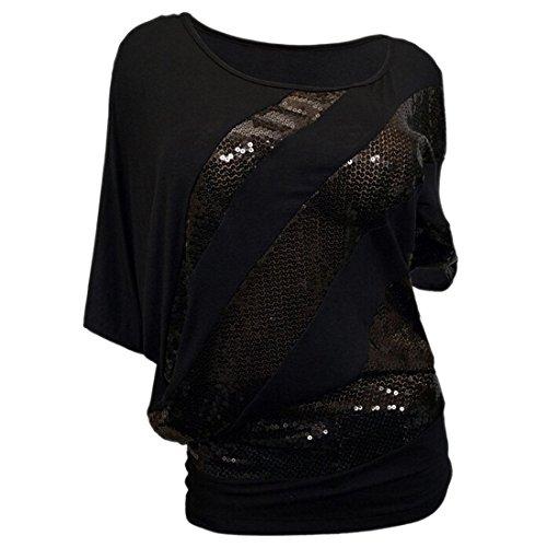 QIYUN.Z Las Camisetas Camiseta Del Verano Del T-Shirts Manga Del Batwing De La Blusa Del Cequi De Las Mujeres Negro