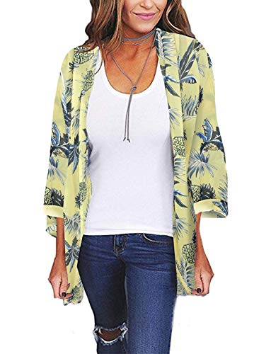 Womens Kimono Cardigan Beach Cover Up Floral Chiffon Loose Capes (Yellow,2XL) -
