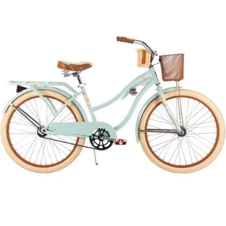 "Huffy #54576 Women's Nel Lusso Cruiser 24"" Bike, Mint, Wire Basket, 24"" x 2.125"" Cruiser Tires, 1 speed, Cruiser Handlebar"