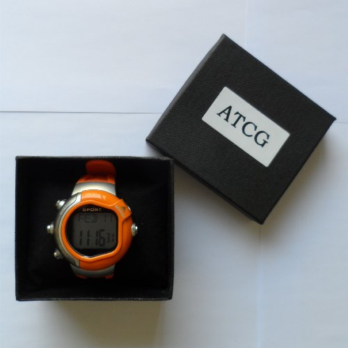 ATCG Heart Rate Watch Pulse Monitor with Calories Counter, Stopwatch and Alarm (Orange)