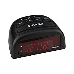 Geneva/Advance Clock Co 3138AT Euro 0.6 LED Black Case Electric Alarm Clock