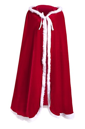 Dora Bridal Christmas Cloak Sexy Hooded Xmas Costume Velvet Halloween Cosplay Cape Hoodie (Medevil Dresses)