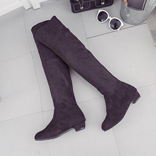 Schwarz Lange Herbst Fcostume Braun Stiefel Frauen Stiefel Flache Wildleder Winter Kurze Schuhe 37 Bein Hohe OwnqvB