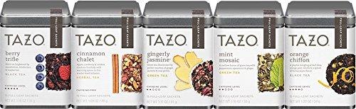 Tazo Full Leaf Satchets Bundle of 5 Different Teas: Berry Trifle, Cinnamon Chalet, Gingerly Jasmine, Mint Mosaic and Orange Chiffon