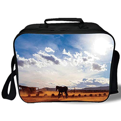 Insulated Lunch Bag,Western Decor,Horse in Monument Valley Open Sky with Clouds in Arizona America Landscape,Cream Blue,for Work/School/Picnic, Grey - Whiskey Valley