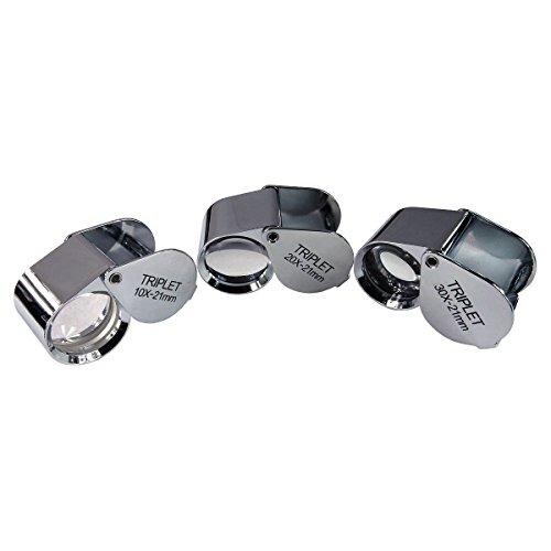 HTS 410C3 3Pc 10x / 20x / 30x 21mm Chrome Triplet Jeweler's Loupe (Triplet Set)
