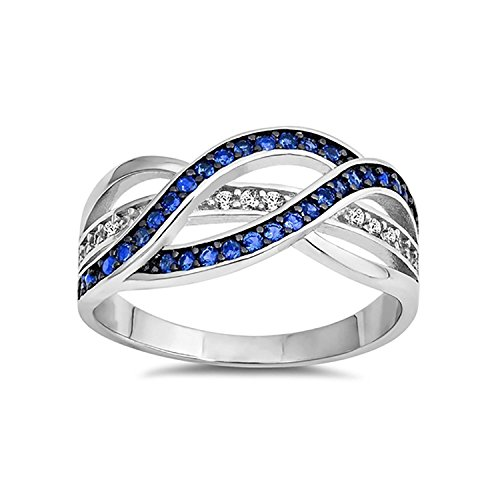 Half Eternity Weave Knot Ring Crisscross Crossover Simulated Blue Sapphire Round CZ 925 Sterling Silver, Size-7