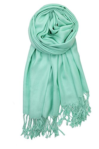 Achillea Large Soft Silky Pashmina Shawl Wrap Scarf in Solid Colors (Mint Green)