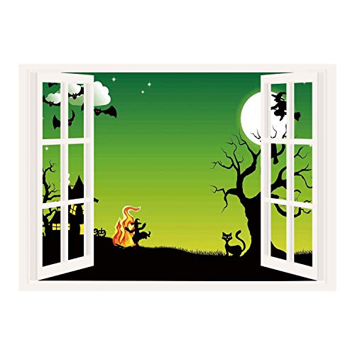 SCOCICI Window Frame Style Home Decor Art Removable Wall Sticker/Halloween Decorations,Witch Dancing with Fire at Halloween Ancient Western Horror Image,Green Black/Wall Sticker -