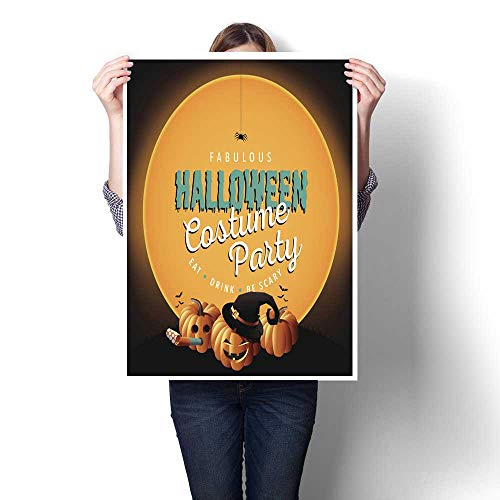 homehot Canvas Wall Art Halloween Costume Party Invite Pumpkins Decorative Fine Art Canvas Print Poster K 16