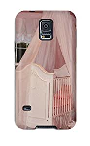 New Premium Flip Case Cover Pink Princess Nursery With Silk Crib Canopy And White Accessories Skin Case For Galaxy S5