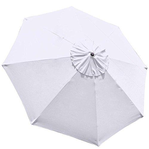 Elite Shade 9feet Replacement Patio Umbrella Cover 9feet Market Table Outdoor Umbrella Canopy 8 Ribs (White)