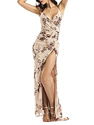 Backless Halter High Split Floral Sequin Maxi Dress
